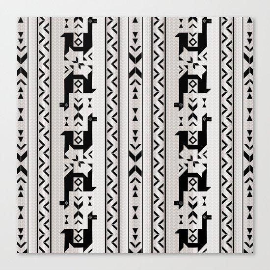 Llamas_Gray & Black Canvas Print