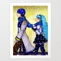 vocaloid Art Prints featuring VOCALOID Kaito x Miku by Minnie Dreamer