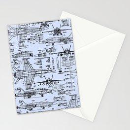F-18 Blueprints // Light Blue Stationery Cards