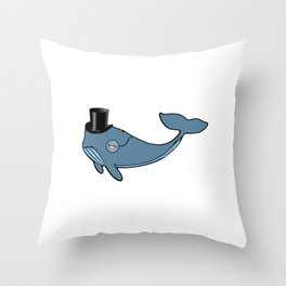 Whale Wearing Top Hat Throw Pillow