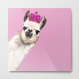 Llama Queen in Pink Metal Print