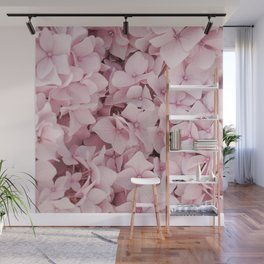 Pink Hydrangea Blossom Photo   Floral Photography In Soft Pastel Color   Summer Flowers Nature Art Print Wall Mural