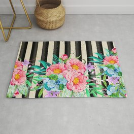 Modern stripes and tropical flowers hand paint Rug