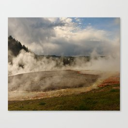 A Cloud Of Steam And Water Over A Geyser Canvas Print