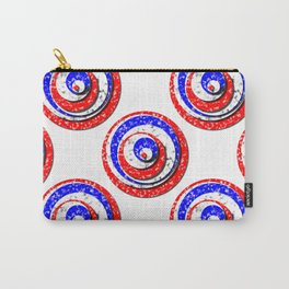 Polka Dot Red White Blue Marble Stacked Tiles Carry-All Pouch