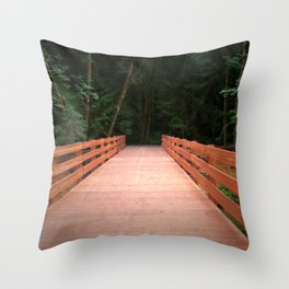Red Cedar Hiking Bridge Throw Pillow