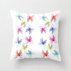 Colorful flowering butterflies. Floral photo art. Throw Pillow