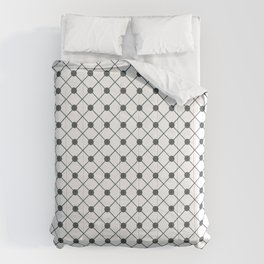 PPG Night Watch Pewter Green Thin Line Stripe Grid (Pinstripe) and Polka Dots on White Comforters