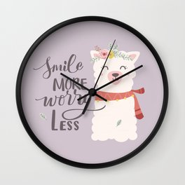 SMILE MORE, WORRY LESS! - Sweet lavender quote Wall Clock