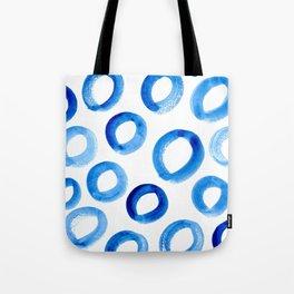 Brushy Blue Circles Tote Bag