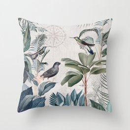 Tropical Birds Paradise Vintage Botanical Illustration Throw Pillow