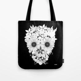Skull Flowers white Tote Bag