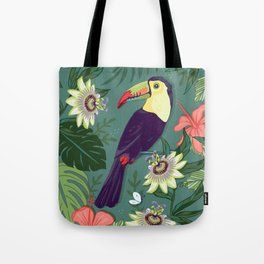 Toucan and Passion Flowers Tote Bag