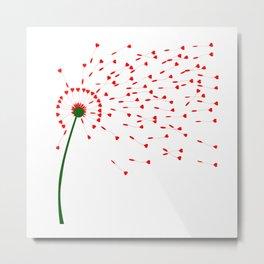 Dandelion Heart Seeds Metal Print