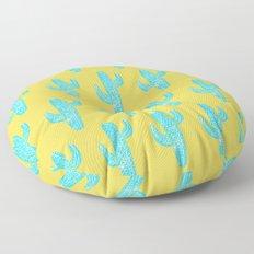 Linocut Cacti Desert Floor Pillow