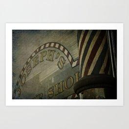 Barbershop Window In A Small Town Art Print