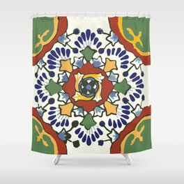 Talavera Mexican tile inspired bold design in blue, green, red, orange Shower Curtain