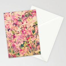 Vintage Pink Crabapple Tree Blossoms in the Sun Stationery Cards