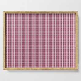 Burgundy Red Background of White Lines Serving Tray