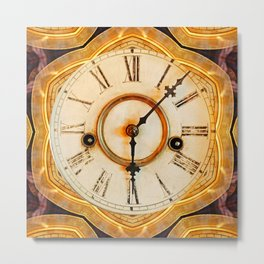 Traditional antique clock face with Roman numerals shown in an ornate brass gilded frame  Metal Print