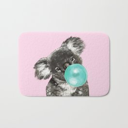 Playful Koala Bear with Bubble Gum in Pink Bath Mat