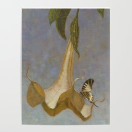 Angel's Trumpet and Swallowtail Butterfly Poster