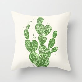Linocut Cactus #1 Throw Pillow