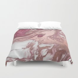 Rose Gold Pink White Painted Girly Abstract Marble Duvet Cover
