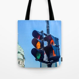 Orange color on the traffic light in Montreal Tote Bag