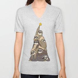 Christmas Tree  Sloths Unisex V-Neck
