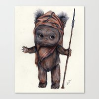 ewok Canvas Prints featuring Ewok Kewpie by Nicole Bonita Miller