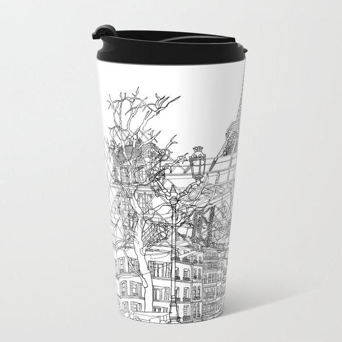 Paris! B&W Travel Mug