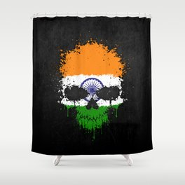 Flag of India on a Chaotic Splatter Skull Shower Curtain