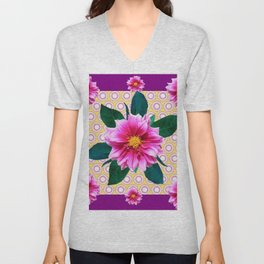 FUCHSIA DAHLIA FLOWERS ABSTRACT Unisex V-Neck
