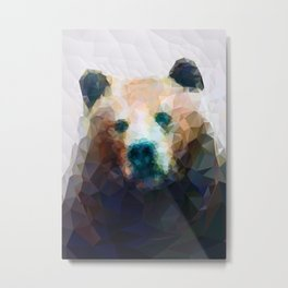 Wild Bear Low Poly Geometric Minimalist Design Metal Print