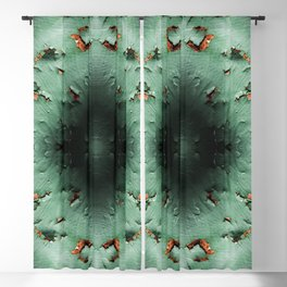 Cool turquoise brown rusty metal Blackout Curtain