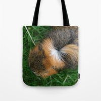 guinea pig Tote Bags featuring American Crested Guinea Pig by Emily Hunter-Higgins