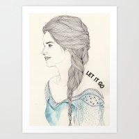 frozen elsa Art Prints featuring Elsa (Frozen) by Kaethe Butcher