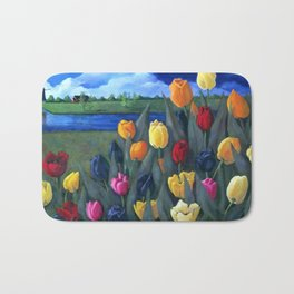 Dutch Tulips, Bright Colorful Flower Painting Bath Mat
