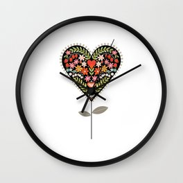 Heart on a Stem Wall Clock