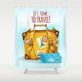 Travel Concept With Suitcase Shower Curtain