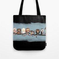 doctor Tote Bags featuring Doctor Hoo - Painted Version by pupukachoo