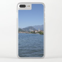 Panoramic view of Fishermen Island on Lake Maggiore, Italy Clear iPhone Case