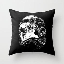 Carnibal / Ink Skull / White Throw Pillow