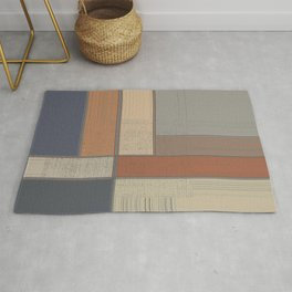 Earth Tone Texture Block Abstract Rug
