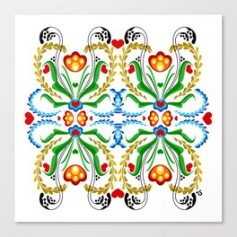 Scandinavian Folk Art ~ Tulip Mosaic Canvas Print