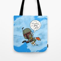 boba Tote Bags featuring boba by kaylieghkartoons