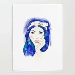 Blue Hair Don't Care Poster