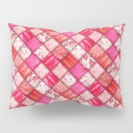 Faux Patchwork Quilting - Pink and Red Pillow Sham