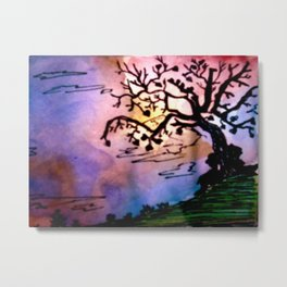 Love Tree Watercolor Painting Metal Print